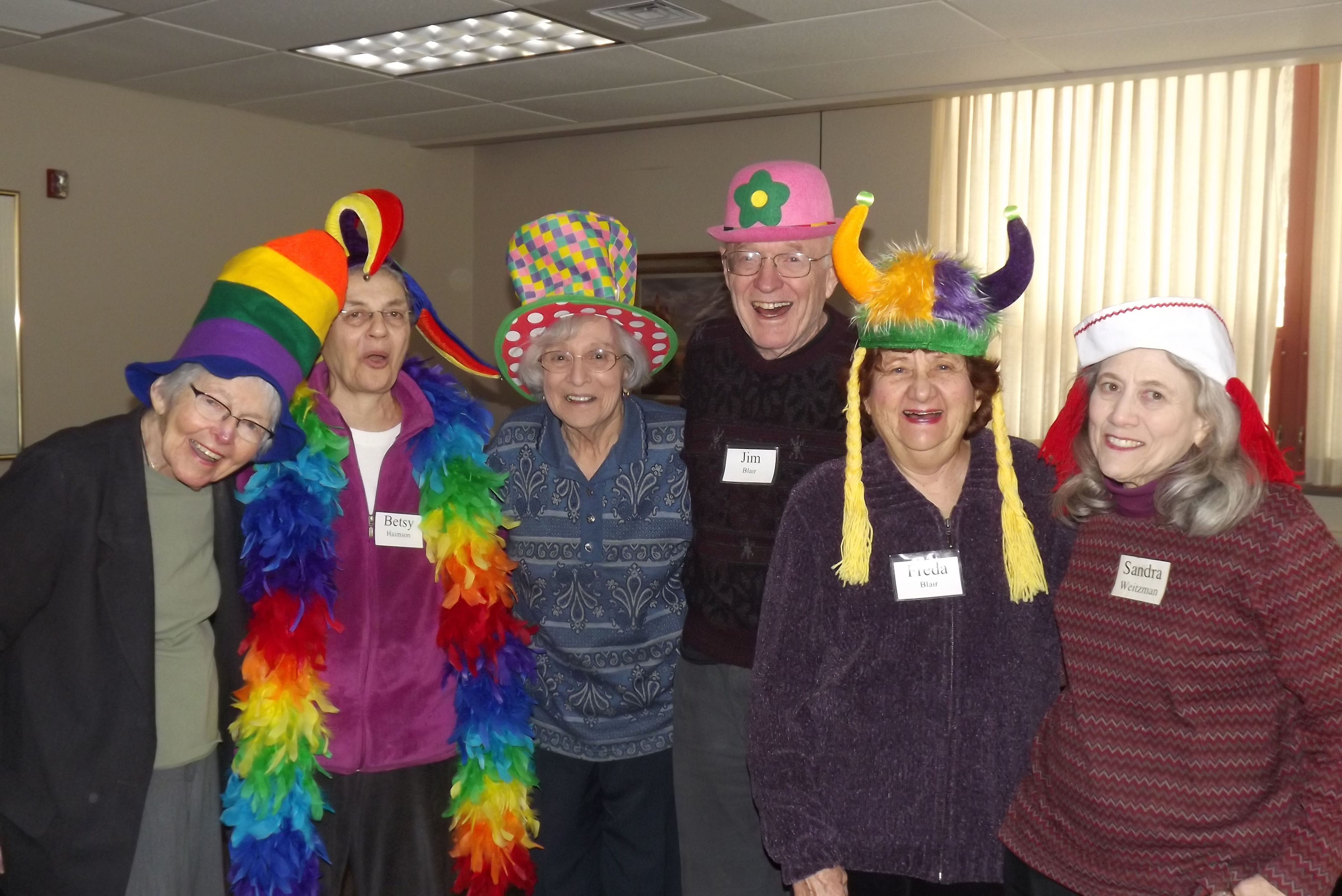 A group of our Lechayim-goers dressed up in funny hats for Purim