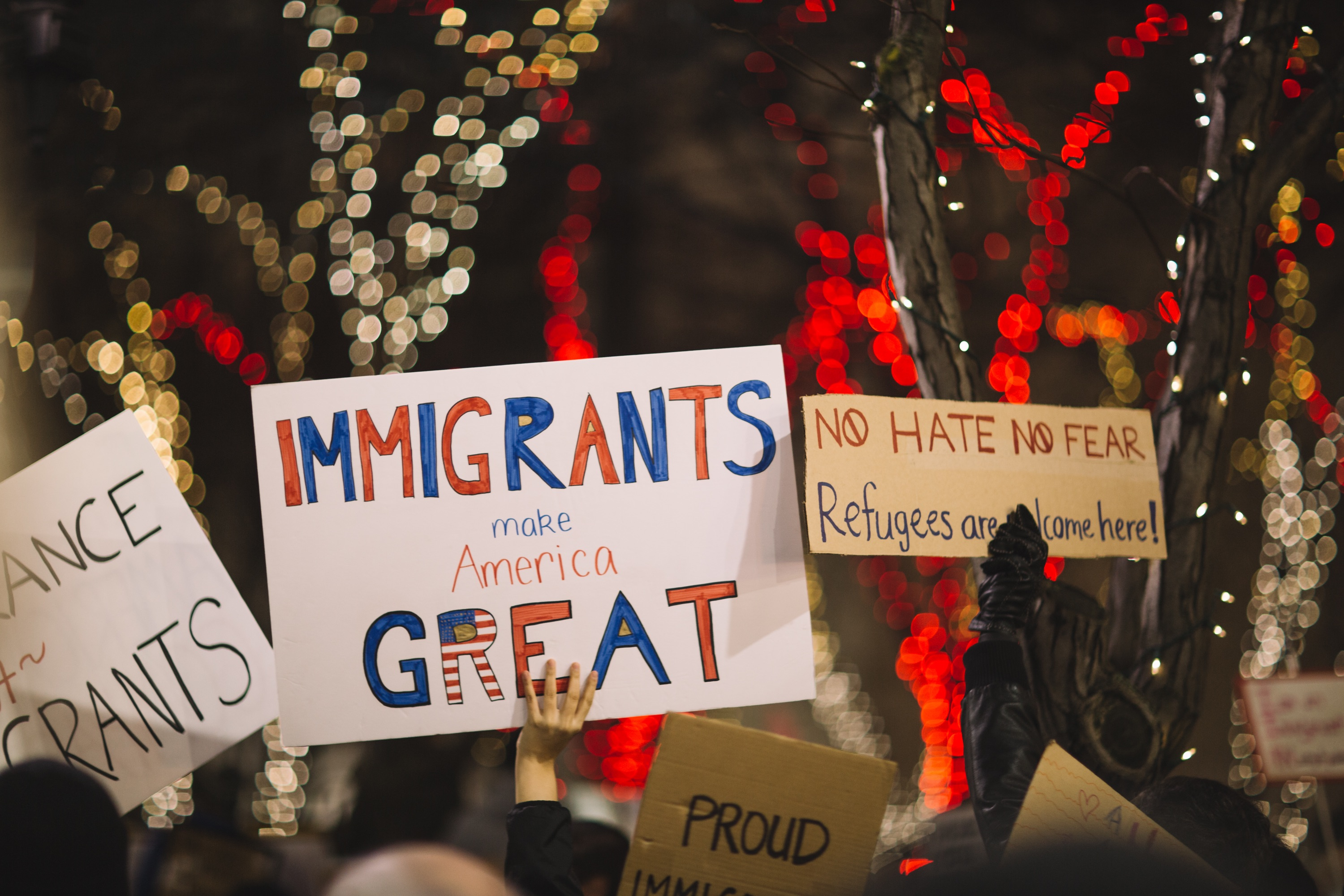 Image of Protest Signs saying Immigrants Make America Great